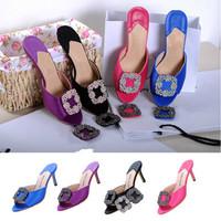 Women Brand Sandal Slippers,Rhinestone Fashion Slippers High Quality,Summer High Heel Slipper Free Shipping