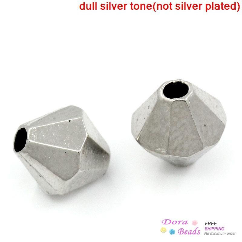 Акриловые прокладка бусины Bicone серебро тон граненные 6 x 6 мм, Отверстие : приблизительно 1.5 мм, 1000 шт. ( B26470 ) 6 мм подсолнечника широкий bicone бусины 50 шт лот кристалл более 5 10