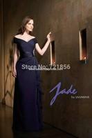 2014 newest style fashion v-neck  fold beads crystal  open back  mother of bride dress MD-04