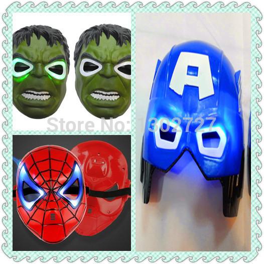 LED Glowing 3 pcs high quality movie superhero Party Mask Full face Party Masks Gift the hulk/batman/capital America(China (Mainland))