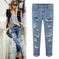 New Style! 2014 Summer&Autumn Ladies'Cotton Denim Plus Size(S-XL) Light Blue trousers hole Vintage slim hot jeans for women