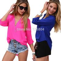 Blusas Femininas 2014 Women's Fashion Sheer Shirts Camisas Femininas Chiffon V-Neck Sheer Blouses Women Clothing Blusa Renda