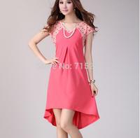 2014 new summer dress women chiffon irregular one-piece dress V neck big size patchwork clothes plus size XXXL
