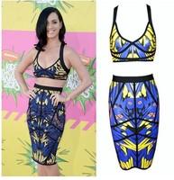 New Sexy Fashion Summer Women Two Piece Bodycon Bandage Dress Celebrity Club Party Owl Print Mini DressTY056