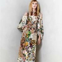 Stunning!Free Shipping New Fashion Runway 2014 High Quality Women's pastoral style flower print strap Maxi Long Dress Full Dress