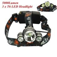 LED HeadLamp frontal 3x CREE XM-L T6 5000 Lumens Rechargeable Head Lamp farol Headlight