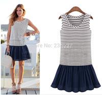 2014 new fashion women brand striped dresses Lady O-neck sleeveless patchwork mini dress casual vestidos plus size Free shipping