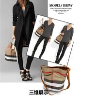 2014 new women's genuine leather handbag fashion plaid shoulder bags casual totes messenger bag
