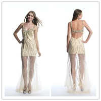 2014 New A-Line sweetheart spaghetti strap sleeveless and backless with crystal long Prom Dress custom-made  FSL-098