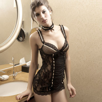 Dear-lover to do summer sexy tight transparent lace stitching dress sexy lingerie Lingerie 2316