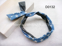 FreeShipping 12pcs/lot Star Print Jeans PU Patchwork Bunny Headband Lovely Rabbit Ear Bow Hairband D0132 2 colors