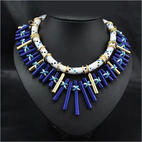 Free Shipping 2014 High Quality Jewlery Necklace Multilayer Blue Resin Brand Necklaces & Pendants Collar Jewelery Women N4671
