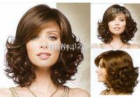 peruvian virgin Style Short Curly American Wigs for Women human Kanekalon Fiber Hair wigs Free Shipping