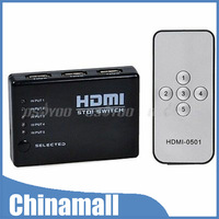 5 Port 1080P Video HDMI Switch Switcher Splitter for HDTV PS3 DVD with IR Remote Free Shipping & Drop Shipping
