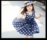 Free shipping retail 2~11age cotton woven navy/white cute knee length princess casual girl dress