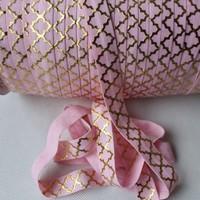 accept custom print Big gold  foil Quatrefoil foe #123 Pearl Pink Fold Over Elastic 10 yards foe elastic yard