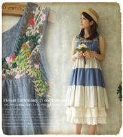 Natural flower embroidery tank dress natural pleated sleeveless one-piece dress loose summer dressmori girl dress mori vestido