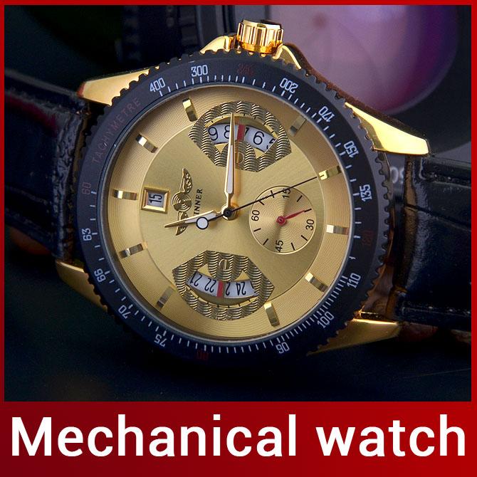 2014 neue Luxus mode für männer automatische mechanische uhr selbst Wind uhr für männer lässig kleid zu sehen Kalender Arbeit tachymetre