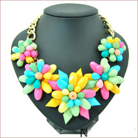 Free Shipping 2014 High Quality Jewlery Necklace Big Resin Flower Chunky Chain Necklaces & Pendants Collar Jewelery Women N4673