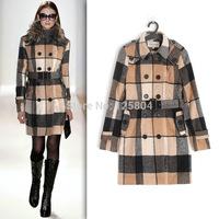 New Women Winter Trench Fashion Slim Outercoat Fur Collar Cotton Burs Cashmere brand plaid wool tartan print b rry  for women