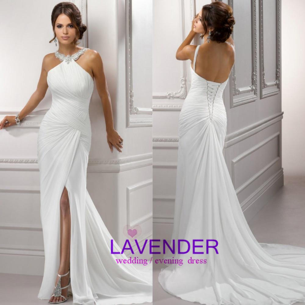 2014 cheap high quality long chiffon SEXY High Side Slit beach wedding dress vestido de noiva custom made plus size bridal gown(China (Mainland))