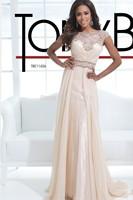 Vestido De Festa   Chiffon Beaded Sashes Cap Sleeve Pleats Evening Gowns 2014 Evening Dresses