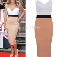 Sexy Women Summer Dresses 2014 Hot Strappy Bodycon Patchwork Dress Women Sleeveless Strap Clubwear Dress FE3069#M1