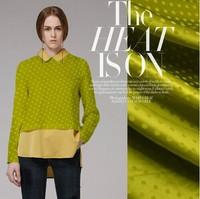 jacquard spotty silk fabric 100%silk sangpu satin cloth giltter green 16momme