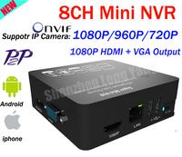 NEW! Mini Housing Onvif 2.0 H.264 8CH 1080P Mini NVR HDMI 1080P Network video recorder 8ch mini NVR for ip camera