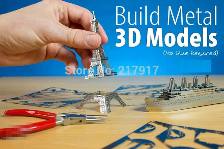 3D Metal Puzzle DIY Jigsaw Model Educational Toys Ferris Wheel , Eiffel Tower , mustang 8 Models 23-12(China (Mainland))