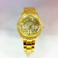 50pcs/lot,Luxury Brand geneva Unisex Watch Roman Number Fashion Quartz Watch woman Party Gift Watch rhinestone wristWatches