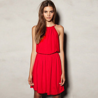 Strapless beach  sleeveless round neck   red color dress off the shoulder  knee-length  casual party dresses 2014 new