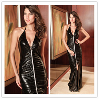Hot 2014 Women Leather Split Sling Zipper Pom Bodycon Club Sleeveless Long Dress Evening&Party Sexy Summer Dresses Free Shipping