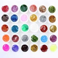 Glitter UV Gel 30 Mix Colors Builder False Tips Acrylic Nail Art Polish Kit Set drop& free shipping