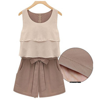 New 2014 Summer Casual Women Clothing Bodysuits O-Neck Sleeveless Pinched Waist Chiffon Jumpsuits, Khaki, S, M, L, XL