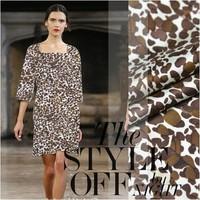 100%pure silk twill fabric leopard print silk cloth fashion 16momme italy order