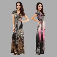New beach summer dress v-neck desigual leopard print bohemia maxi dress plus size casual vestido de festa ice silk dress XL XXL