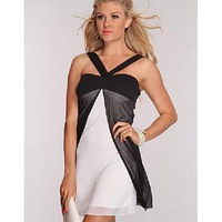 2014 summer new arrival Halter black and white summer beach  cool dress  off the shoulder  casual  short  sundresses