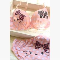 Free shipping 2014 HELLO KITTY sexy women underwear girls dot bra lady corset pink bustiers