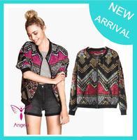 Wholesale price hot spring jaquetas femininas 2014 women colorful geometric jacket coat casacos femininos BR,RU,US WO-009