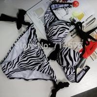 2014  Beach sexy women push up stripe print zebra bathing suit Bikini set bow swimsuit swimwear fashion summer