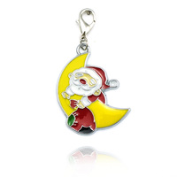 Christmas gift Floating Charm Santa on the Moon Fashion Jewelry Charm necklaces pendants You can give to a good friend DZ0256