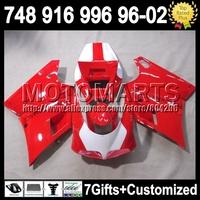 7gift For DUCATI 748 916 996 998 96-02 Stock red 5J34  96 97 98 99 00 01 02 1996 1997 1998  HOT Red white 2000 2001 2002 Fairing