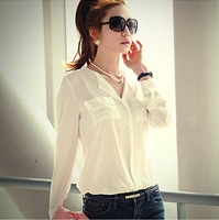 2014 New fashion Women's Clothes Casual chiffon comfortable pocket V-neck Slim Long sleeve Shirt White Blouses Size S,M,L