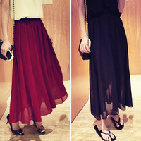chiffon pleated bust skirt solid color Size fits all full all-match women's bust skirt