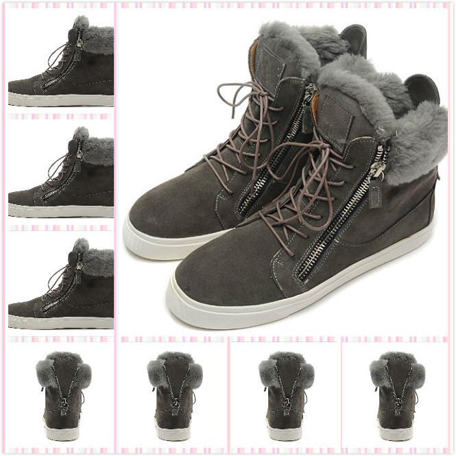 2014 big promotions design brand brown suede fur inside