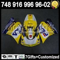 7gift+Fairing For DUCATI 96-02 Yellow blue 748 916 996 998  96 97 98 99 00 01 02 Yellow white 5J174 1996 1997 1998  2000 2001 20