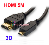 Micro HDMI to HDMI connector converter adapter Cable 5FT 1.5M HDMI V1.4 1080p for HDTV PS3 LCD free shipping