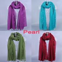 NEW DESIGN ladies printe solid color peral/bead plain cotton voile glitter shawls long hijab muslim scarves/scarf 10pcs/lot
