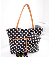 2014 New Arrivel College Wind Polka Dot Womens' Handbags With PurseShoulder Bag for Grils School Bags Shopping Bag High Quality